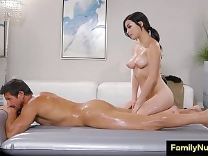 Horny stepdaughter massage daddy