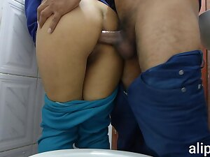 Anal sex in public bathroom with hidden camera