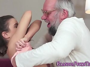 Teen tugs dirty old man