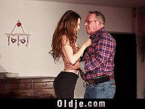 Skinny young girl seduces fat old man and he fucks her sweet pussy